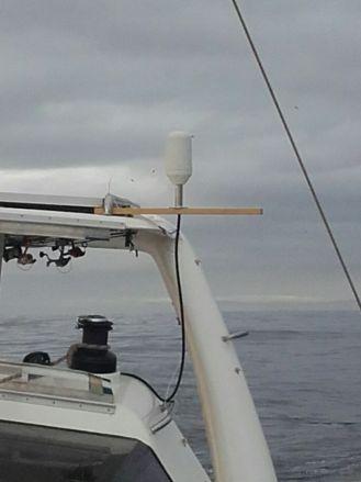 The Iridium Go antenna temporarily rigged up!